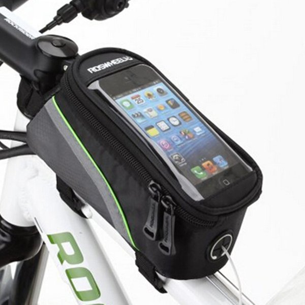 """Roswheel 4.2"""" 4.8"""" 5.5"""" Inch Waterproof Black Cycling Bike Bicycle Front Phone Bag Case Holder Zip Pouch for iPhone Mobile Cell phone"""
