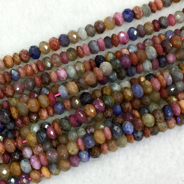"Natural Genuine Multi-Color Red Purple Blue Ruby Sapphire Rondelle Loose Beads 4x6,3x5mm DIY Jewelry Necklaces or Bracelets 16"" 04075"