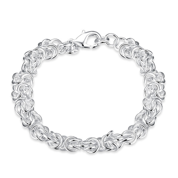 Beautiful Jewelry 925 Solid Silver Classic Hoop Chain Bracelets High Quality Cheap Shrimp Buckle Bracelet For Women Mens Factory Price