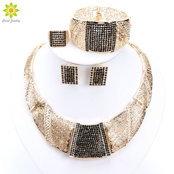 Dubai Nigeria African Women's Gold Jewelry Gold Plated Full Crystal Jewelry Classic Charming Design Jewelry Sets