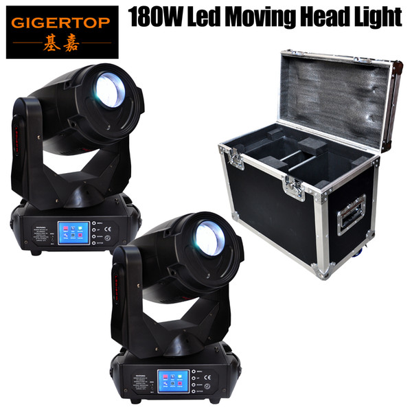 best selling 2IN1 Flightcase Pack 180W High Power Led Moving Head Light 17CH DMX LED Moving Yoke 3-Facet Rotating Prism Electronic Strobe