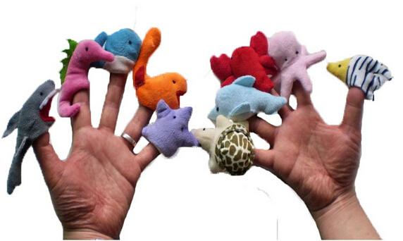 best selling Wholesale-10pcs   set 2015 models of marine animals finger even educational early childhood plush toy utensils brinquedos