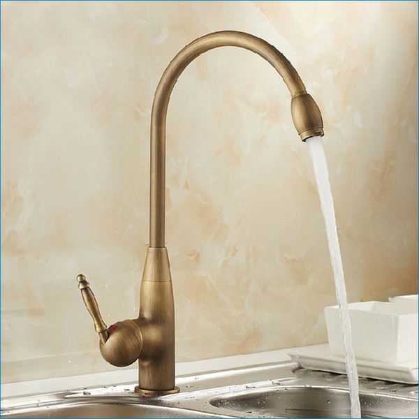 European retro oil rubbed bronze kitchen faucet,Rotatable brass faucet,single hole cold and hot mixer tap,Free Shipping J14809