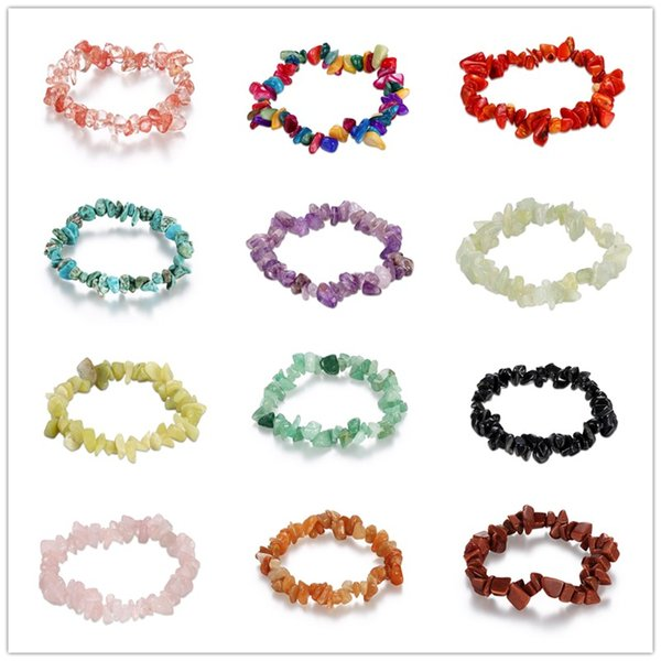 Mixed 12 color Elastic Natural Stone Bracelet Multi-Colors Fluorite Gems Jade turquoise coral amethyst Crystal Stone Bead Bracelet for women