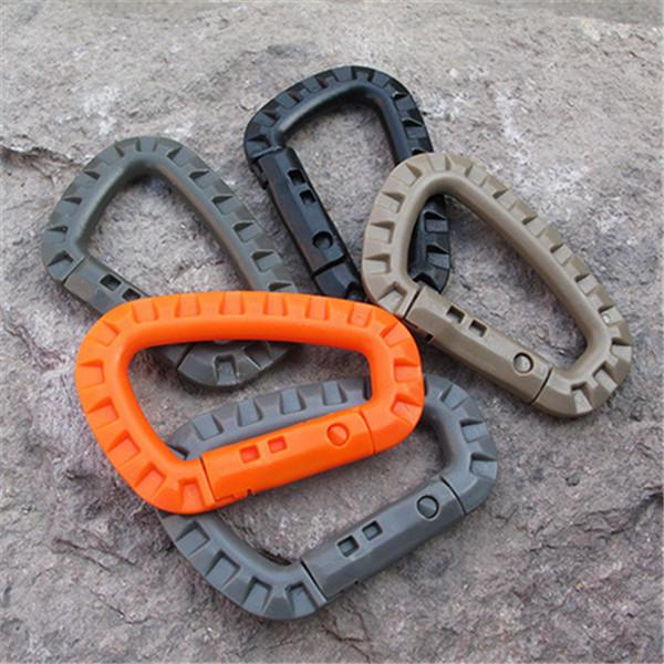 100 pcs D Shape Mountaineering Buckle Snap Clip Plastic Steel Climbing Carabiner Hanging Keychain Hook Fit Outdoor Army EDC