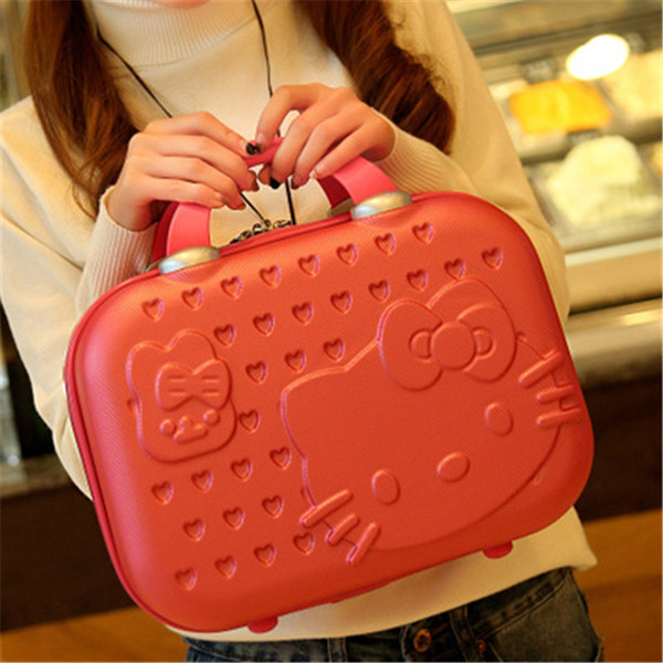 New Cute Fashion Suitcase Abs Portable Cosmetic Case Wash Suitcase 14 Inch Professional Cosmetic Bag Small Luggage Box Storage Box