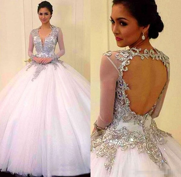 2017 Cheap Ball Gown Quinceanera Prom Dresses V-Neck Tulle For Backless Long Sleeves Applique Beads Evening Dress