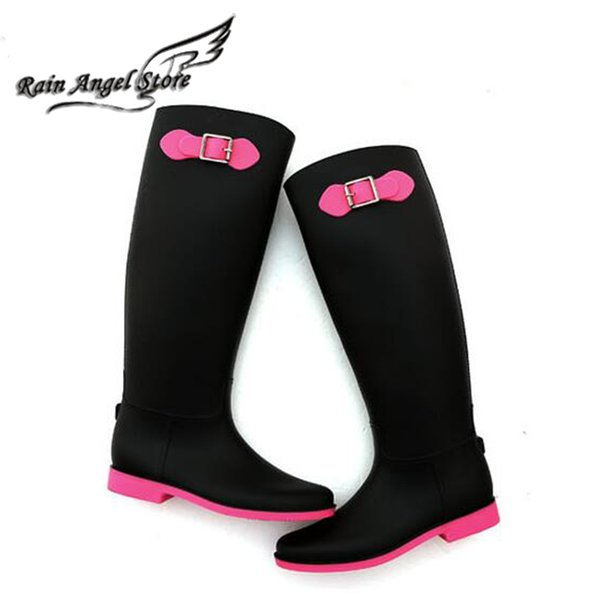 Brand Women'S Tall Rain Boots Bukle Bow Women Motorcycle Boots ...