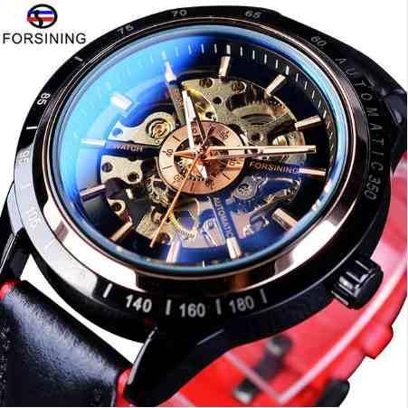 Forsining Motocicleta Diseño Transparente Genuino Rojo Negro Cinturón Esqueleto Impermeable Hombres Relojes Automáticos de Primeras Marcas de Lujo Reloj