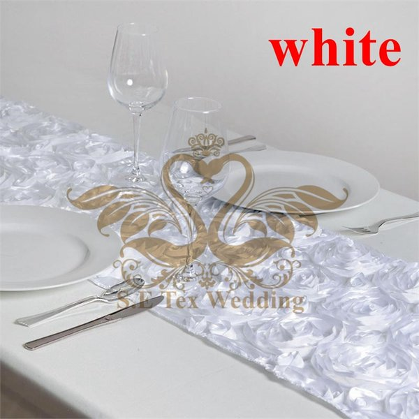 White Color New Design Satin Rosette Table Runner For Wedding Decoration