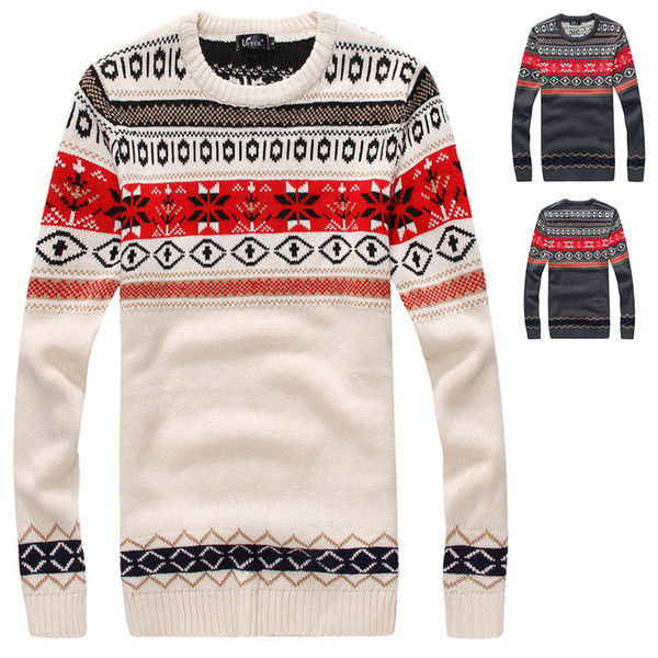 Wholesale-Printed Pullover Men Brand Sweater Men 2016 Clothing Striped Long Sleeve Mens Sweaters Fashion Man Asian size M-XXL UW305
