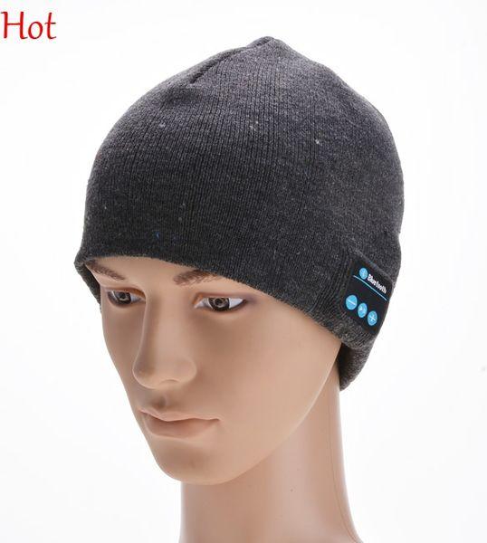 Unisex Warm Beanie Hat Wireless Bluetooth Smart Cap Headphone Headset Speaker Mic Knitted Hat Grey Black Wool Hats For Men Women SV013816