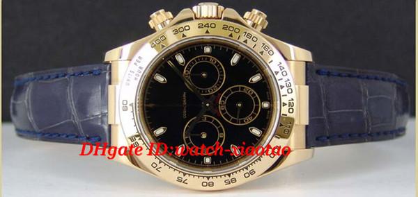 Watch Luxus Qualität Armband Schwarz Index Mans Lederarmband Großhandel Auf Top 116518 Herrenuhr Herren Mechanische 40mm 18kt Gold Modemarke Von Uhren JTlKF1c