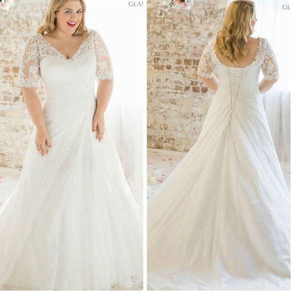 Discount 2016 New Plus Size Lace Short Sleeve Wedding Dress White