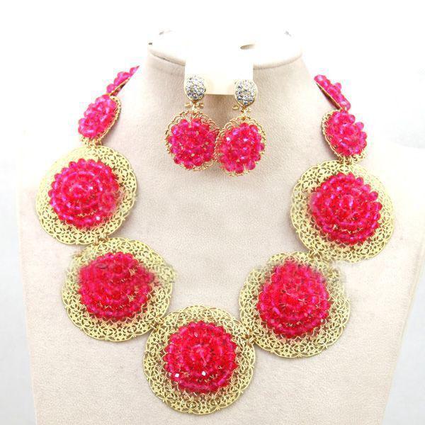 set di gioielli africani colore fushia dubai insieme dei monili dell'oro 18 k gp partita fatta a mano per fushia nigeriano aso oke headtie wrap
