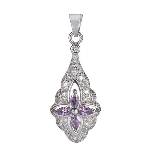 925 sterling silver Fashion Pendants Noble Generous S-3707 Light purple Cubic Zirconia Favourite Best Sellers First class products Vintage