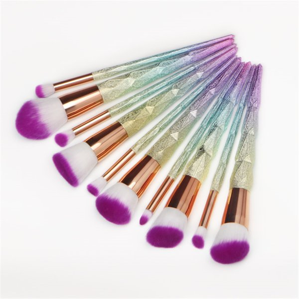 Juego de pinceles de maquillaje profesional de 10 piezas con hilo Rainbow Diamond Handle Shape Face Make Up Brush Beauty Kit Tools