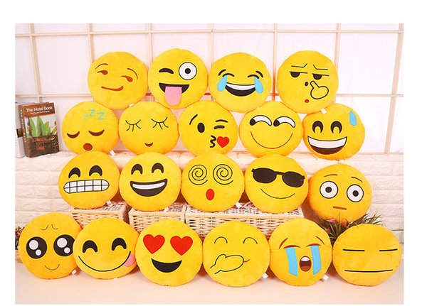 top popular 20 styles 32cm Emoji Stuffed Plush Pillows QQ expression cushion Cartoon Pillow Cushions Yellow Round Pillow Stuffed Plush Toys gifts 2019