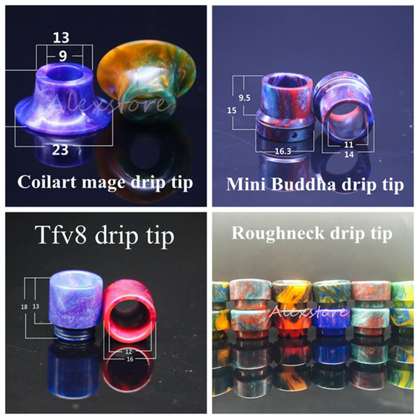 4 Styles TFV8 Coilart Mage RTA Mini Buddha Roughneck Epoxy Resin Drip Tip Colorful Wide Bore Drip Tips 510 Mouthpiece for RDA DHL