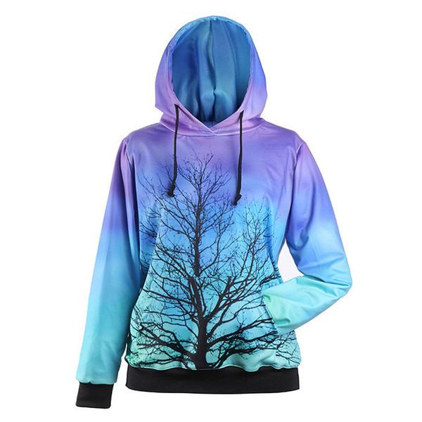 Ropa de mujer marca moda mujer suéter otoño. Diseño de doble bolsillo, pares de árboles de luna llena fuera de las tapas