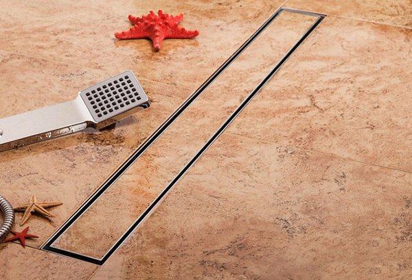 Envío gratis baño 304 de acero inoxidable 600 mm lineal anti-olor desagüe del baño largo baño invisible ducha 600 mm desagüe del piso del baño DR099