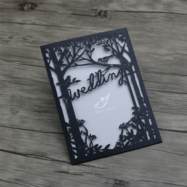 30 Personalized Engraved Tree And Birds Wedding Invitations Cards Laser Cutting Wedding Invitation Hollow Cut Pearl Black Wedding Cards Online