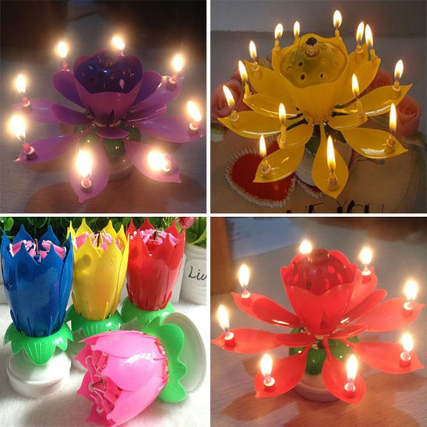 Colorful Petals Music Candle Children Birthday Party Lotus Sparkling Flower Candles Squirt Blossom Flame Cake Accessory Gift TY7-03