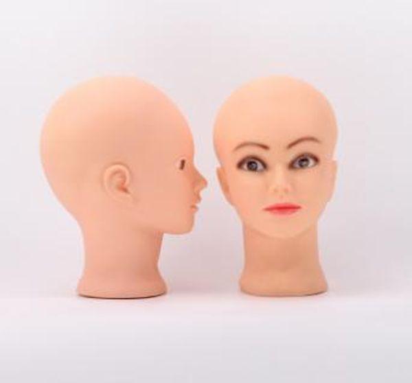 Nueva llegada 2019 cabeza de maniquí barata pvc calvicie cabeza de entrenamiento maniquí maquillaje exhibición de peluca soporte QM 021