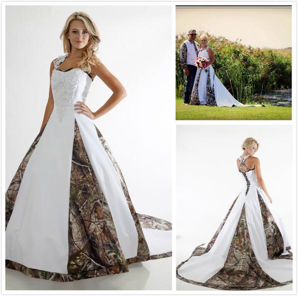 Großhandel Designer Plus Size Camouflage Ballkleid Brautkleider Weiß ...