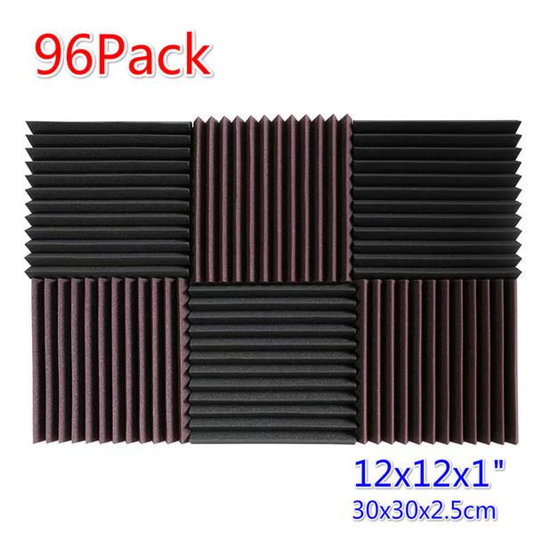 top popular 96 Pieces Wedge Acoustic Foam Soundproof Panel Sound Treatment Noise Cancellation Decorative Material Sound Absorption Sponge 2 2021