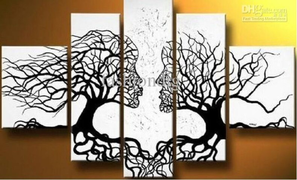 Stretched Abstract Black White oil painting Couple Love Tree artwork Ready to Hang home office hotel decoration wall art decor Handmade Gift