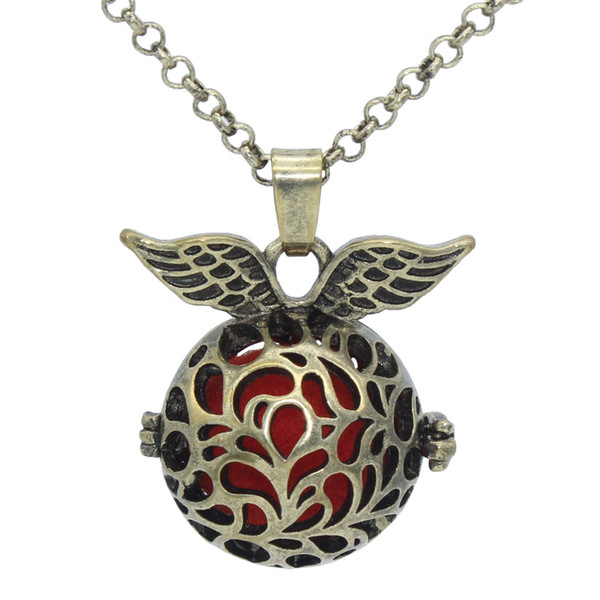 """Wholesale Essential Oil Aromatherapy Diffuser Locket Bronze Angel Wing Hollow Flower Openable Pendant 30"""" Chain Necklace Jewelry Charms"""