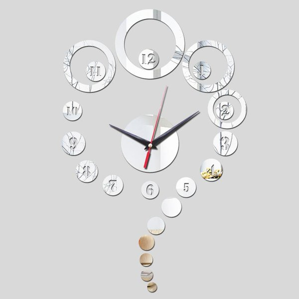 2016 sale new Acrylic mirror wall clock limited promotion quartz watch modern 3d clocks gift Decorative background painting TY1943