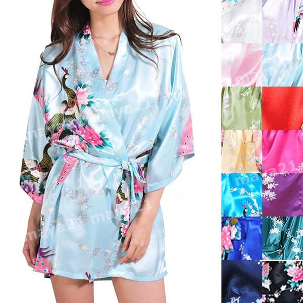 top popular Short Cheap Brideamaid Peacock Satin Kimono Robe Wedding Party Robes Silk Sleepwear Bridesmaid Bathrobe Party Favors Gift Bridal Kimono 2019