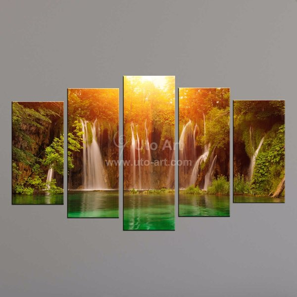 5 Panel/Set Abstract Canvas Art Waterfall with Yellow Sun Scenery Landscape Wall Picture Print Painting For Living Room Unframed