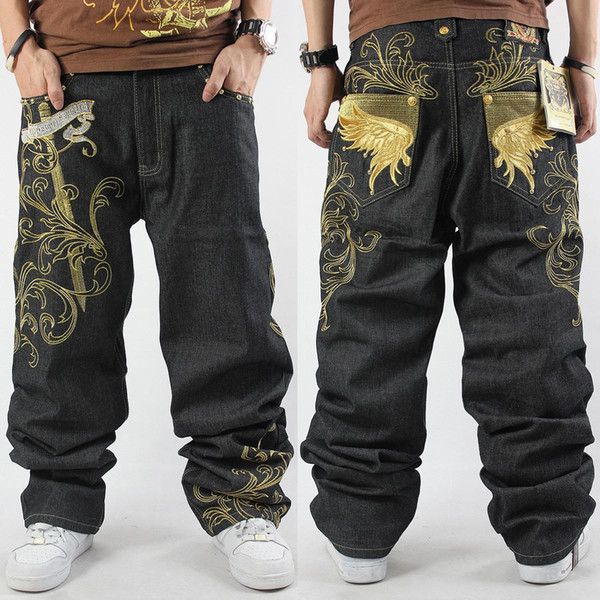 Wholesale-2016 New Mens Hip Hop Baggy Jeans For Street Dancing & Skateboard Loose Fit High Quality Embroidery Plus Size 30 To 46 Hot
