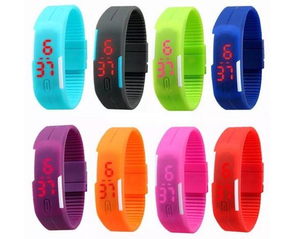 2017 Colorful Waterproof Soft Led Touch Watch Jelly Candy Silicone Rubber Digital Screen Bracelet Watches Men Women Unisex Sports Wristwatch