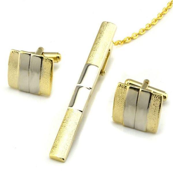 Goldene Krawattenklammern + Manschettenknöpfe kit Manschettenknöpfe für Krawattenhemden Manschettenknöpfe für Männer Französische Manschettenknöpfe, die beste Väter-Tagesweihnachtsgeschenk heiraten