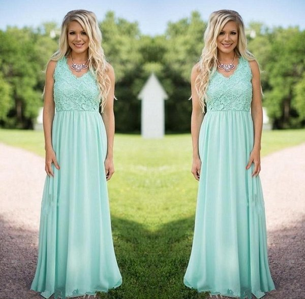 La dama de honor de la gasa del verde de la menta de 2018 nuevos diseñadores viste la criada del Applique del cordón del cuello de V de vestidos de boda de los vestidos del honor por encargo