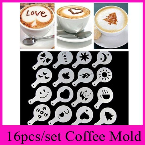 16pc et coffee machine coffee tool mold coffee art bari ta tencil template trew pad du ter pray print mold coffee health tool
