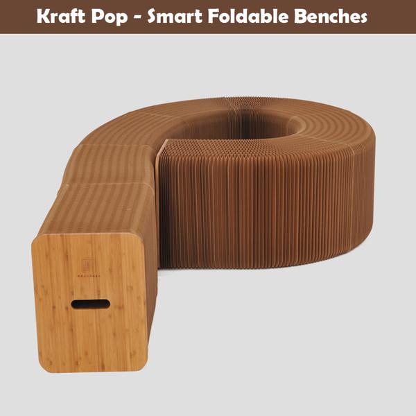 H42xl600cm novel innovation furniture pop mart bench indoor univer al waterproof accordion tyle foldable kraft paper ofa for 9 eat