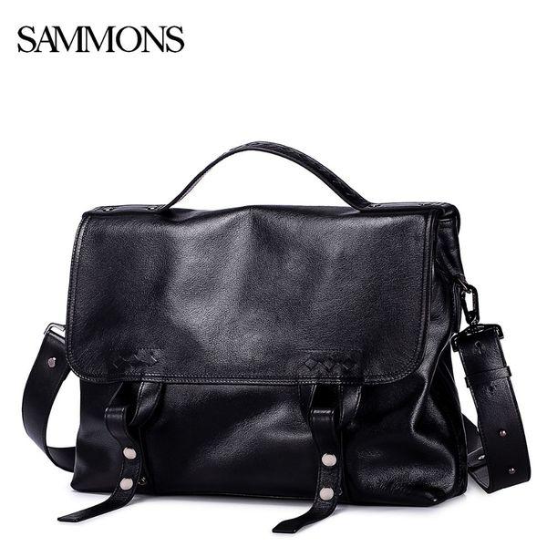 Wholesale- SAMMONS Men Genuine Leather Briefcase Male Leisure Handbag Fashion Cowhide Messenger Bags for Men LaptopTravel Bags Brand SZ5245