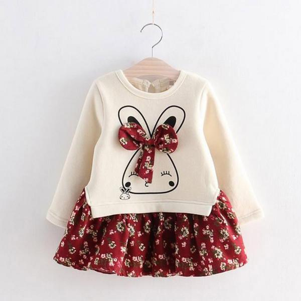 Ragazze Cute Rabbit Abiti Autunno Inverno Baby Girl Princess Dress Fiori stampati ragazze manica lunga Dress
