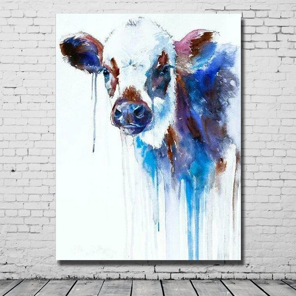 Free shipping home crafts decoration hand painted knife animal cow oil painting art in high quality multi colors artificial painting