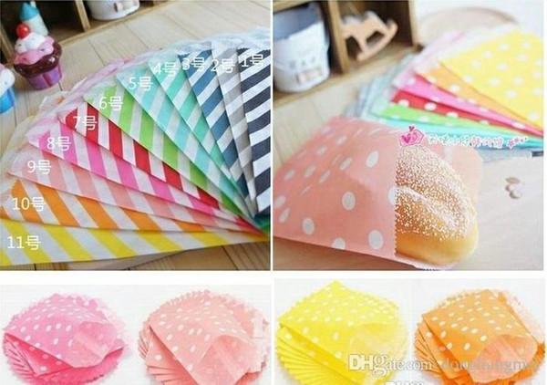 new (25pcs/opp bag) Wedding Chevron Dot Stripe food Paper Bags biodegradable food bag Candy Paper Goods Bag kraft bags #Y248