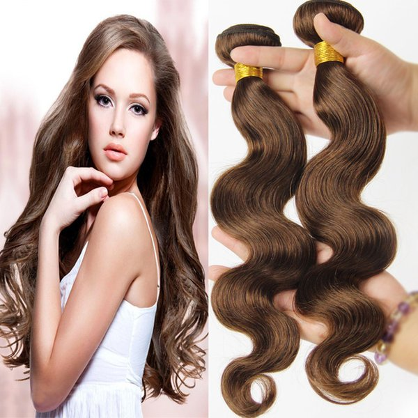 Wholesale 4# medium brown Brazilian Hair Body Weaves 7A Great Quality Human Hair Extensions Peruvian Malaysian Indian Human Hair weft