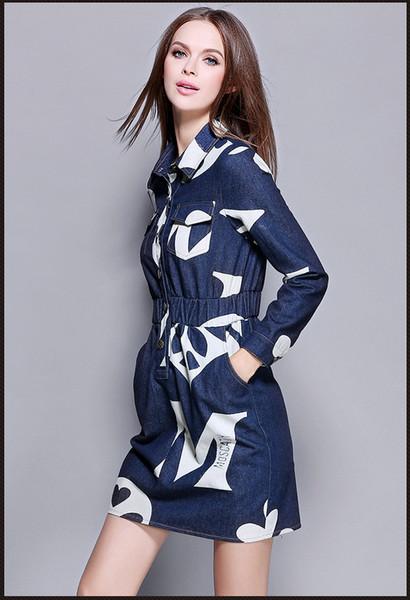 2016 Новая Женская одежда, осенняя и зимняя мода. Джинсы с длинными рукавами платье, упругие талии показать тонкие. Лацкан однобортной юбки.