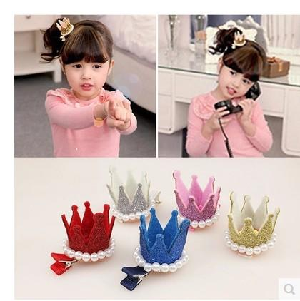 Hot sell Children's Hair Accessories girls beaded princess crown hairpin Barrettes golden sliver colors kids hair clips