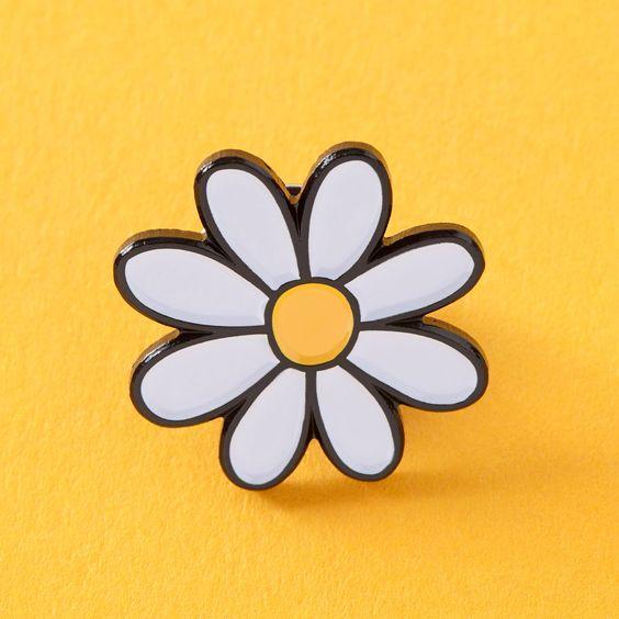 Brief Design Spilla in Sun Flower Spilla posteriore in metallo smaltato nero