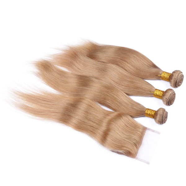 4Pcs Lot Russian Blonde Hair With Closure 9A #27 Honey Blonde Straight Human Hair 3Bundles With 4x4 Lace Closure Strawberry Blonde